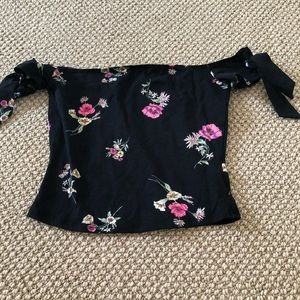 Black with flowers off the shoulder top